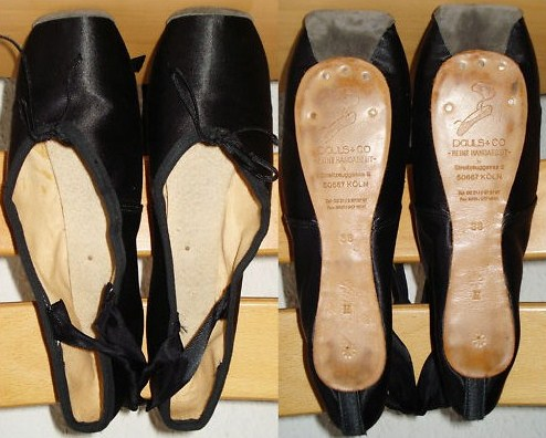 Pauls of Germany Black Satin Pointe Shoes