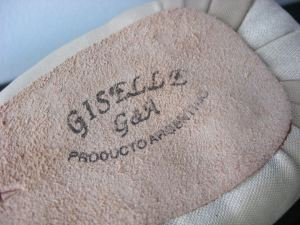 The maker's logo imprint on the sole of the Gyff's Giselle model
