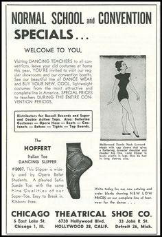1952 ad Hoffert dancing slipper